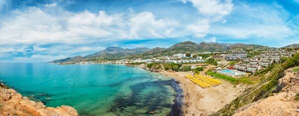 Makrygialos strand ligger på den sydøstlige del af Kreta